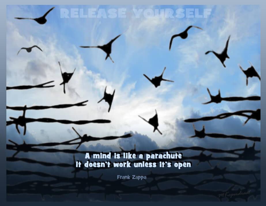 De geest is als een parachute, en werkt alleen als ie open is
